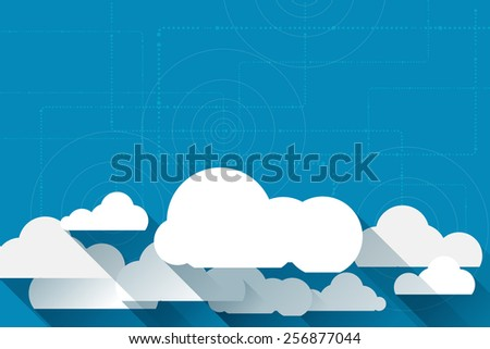 Vector paper clouds on a blue background with space for your design - stock vector