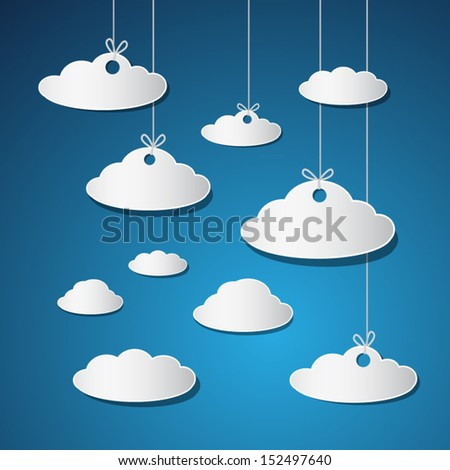 Vector Paper Clouds With Strings on Blue Background - stock vector