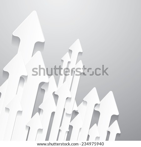 Vector Paper Cut Arrows on Grey Background