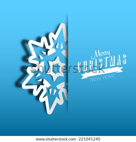 Vector paper cut christmas snowflake on a blue background, Merry Christmas poster - stock vector
