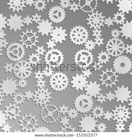 Vector paper cut gears background