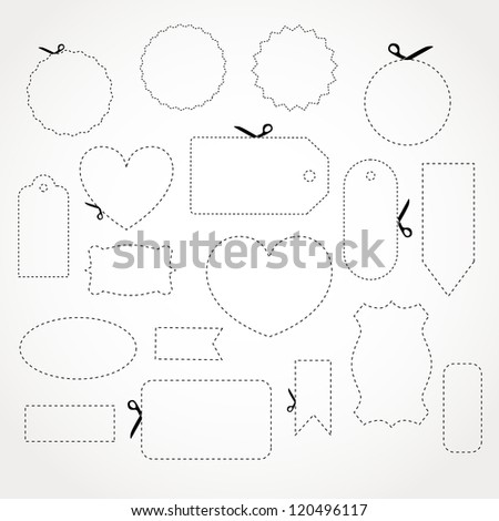 Vector paper cut lines with scissors