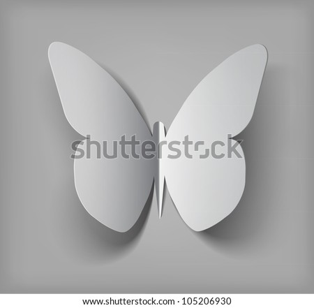 Vector paper cut- out butterfly illustration with vector  shadows - stock vector