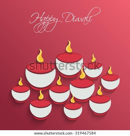 Vector Paper Diwali Diya - stock vector