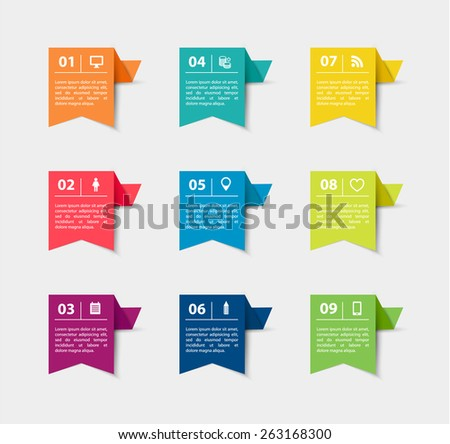 Vector paper flag stickers and labels with realistic shadows for infographic set. Template for diagram, graph, presentation and chart.  - stock vector
