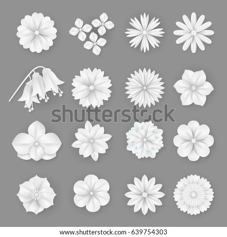 Vector paper flowers set illustration 3 d stock vector royalty free vector paper flowers set illustration 3d origami abstract flower iconsper art style for mightylinksfo