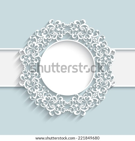 Vector paper frame with ornamental lace border,  round vignette, lacy label on white background, eps10 - stock vector