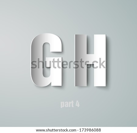 Vector Paper Graphic Alphabet G H - stock vector