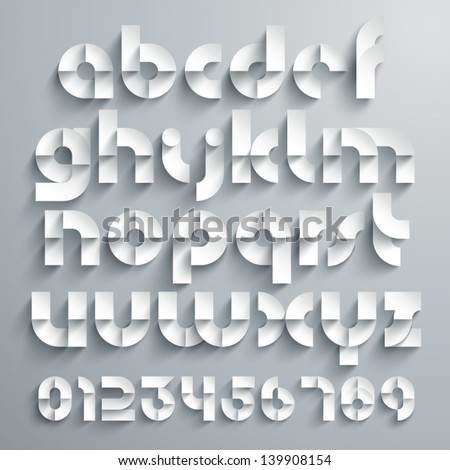 Vector Paper Graphic Alphabet Set - stock vector