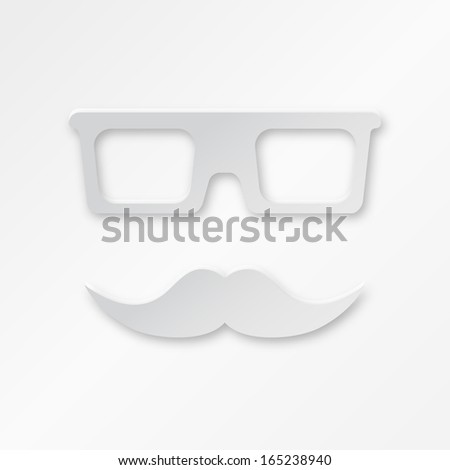 Vector Paper Hipster Background With Glasses And Mustache - stock vector