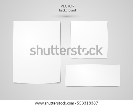 Vector paper notes white On a gray background illustration