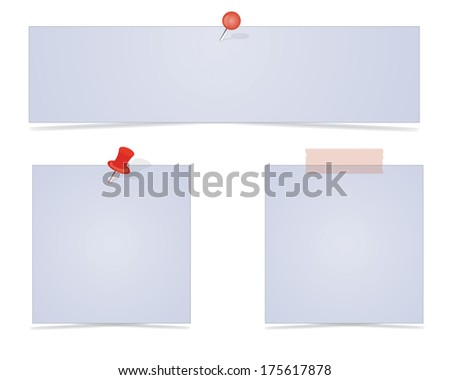 Vector paper notes with push pins - stock vector