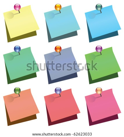 vector paper notes with shiny push pins - stock vector