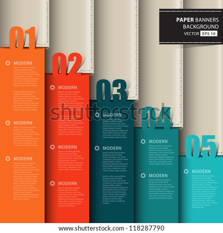 Vector paper numbered and leather banners.Design template - stock vector