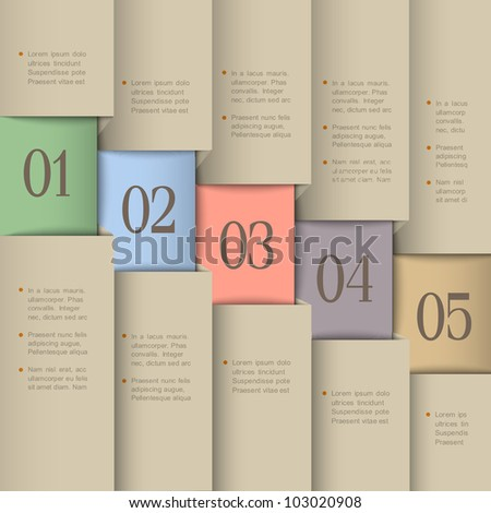 Vector paper numbered banners. Creative design template - stock vector