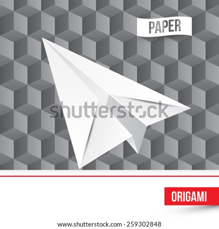 Vector paper origami airplane icon on 3d cube background. Paper design. - stock vector
