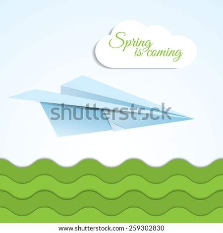Vector paper origami airplane icon on spring background with clouds and grass . Paper design. Spring is coming lettering. - stock vector