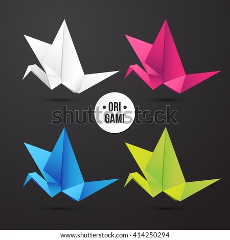 Vector paper origami crane icon. Colorful set. Design for your identity. Logo modern style - stock vector