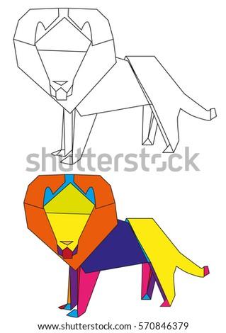 Vector Paper Origami Lion
