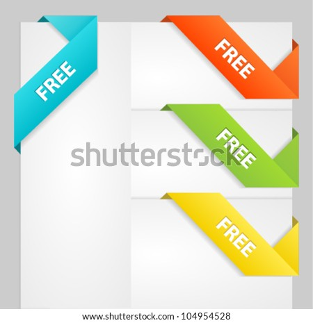 Vector paper origami ribbons / bookmarks - stock vector