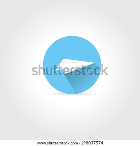 vector paper plane icon. origami paper airplane symbol with long shadow on stylish blue sky round background.