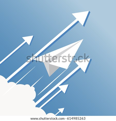 Rocket paper stock images royalty free images vectors paper plane over cloud flat design malvernweather Gallery