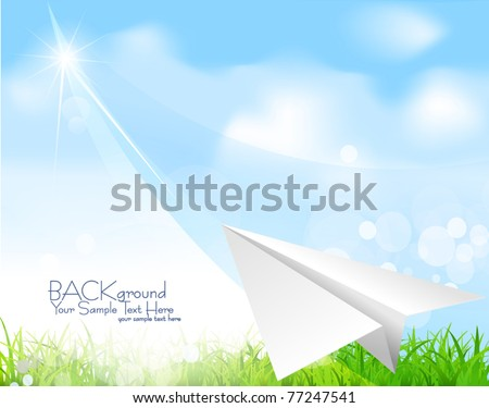 Vector paper plane soaring against the blue sky - stock vector