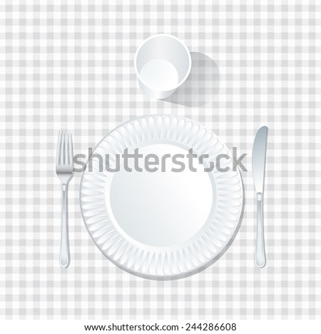 vector paper plate with plastic glass on white tablecloth