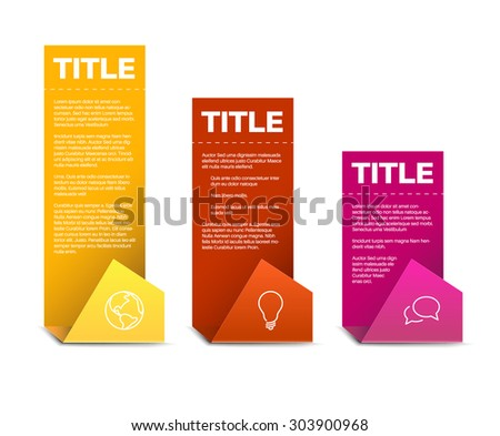 Vector Paper Progress background / product choice or versions - yellow, red and pink - stock vector