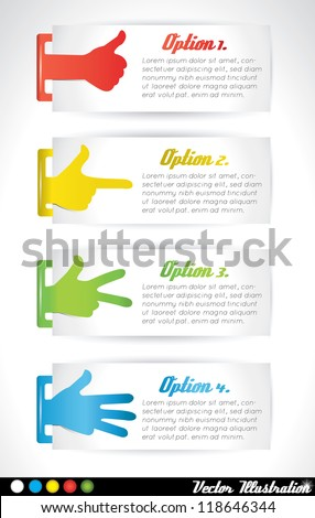 Vector Paper Progress background  with colored hands and fingers. Product or option choice or versions badges or banners