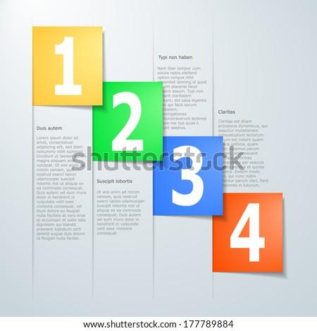 vector paper progress steps for tutorial - stock vector