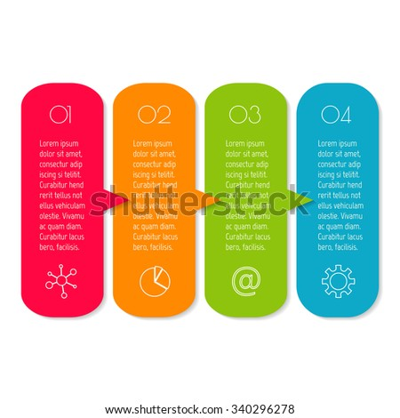 Vector paper progress steps for tutorial. 4 options infographic banner. Number banner template for diagram, graph, presentation or chart. Business concept sequence banner. EPS10 workflow layout. - stock vector