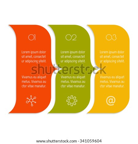 Vector paper progress steps for tutorial. 3 options infographic banner. Number banner template for diagram, graph, presentation or chart. Business concept sequence banner. EPS10 workflow layout. - stock vector