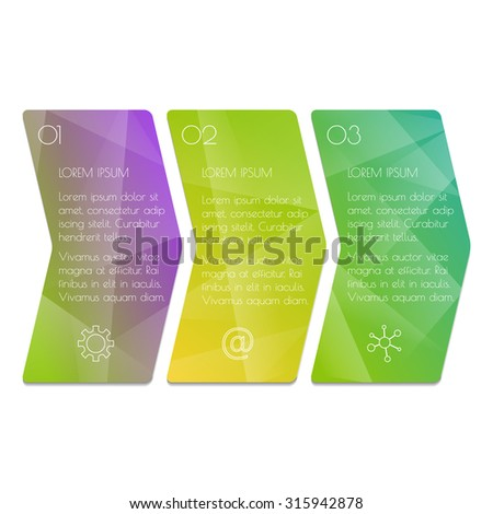 Vector paper progress steps for tutorial. 3 options infographic banner. Number banners template for diagram, graph, presentation or chart. Business concept sequence banners. EPS10 workflow layout. - stock vector