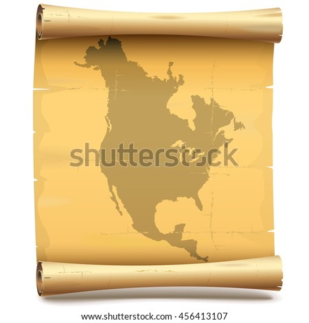 Vector Paper Scroll with North America