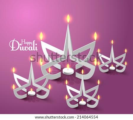 Vector Paper Sculpture of Diwali Diya (Oil Lamp). - stock vector