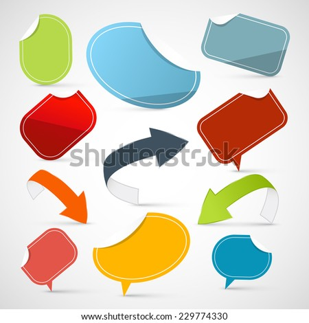 Vector Paper Stickers - Arrows - Labels Set - stock vector
