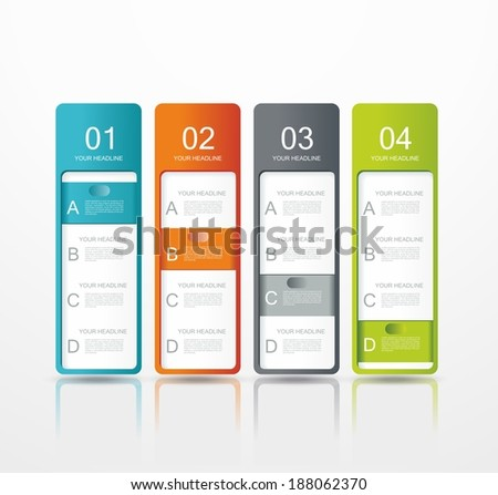 vector paper tags, labels, banners in the pockets, - one two three four steps  - stock vector