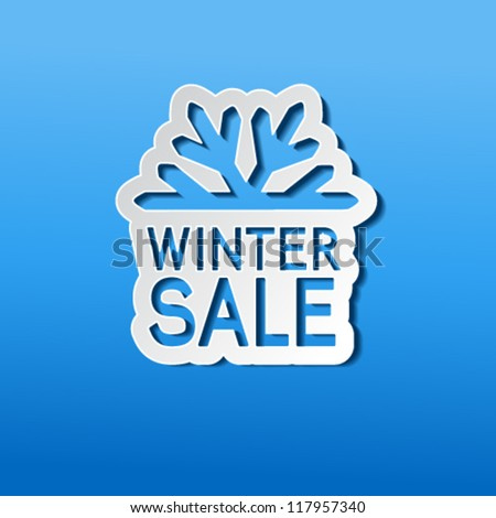 Vector paper winter sale, sticker - Christmas offer