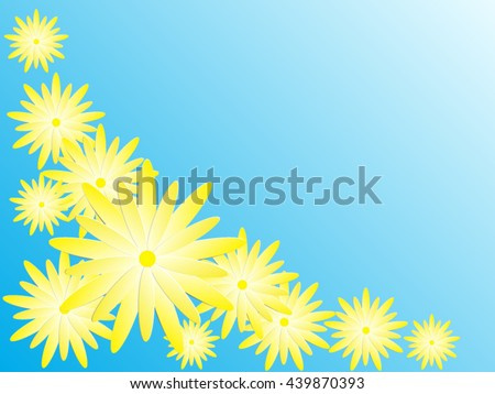 Vector paper yellow flowers isolated on blue sky background.Romance flora vector flowers design.