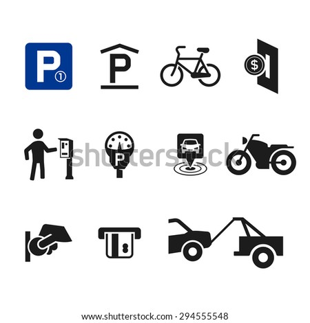 Vector parking icon set 04 - stock vector