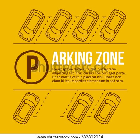 Vector parking lot illustration. Car and transportation, auto park, empty row - stock vector