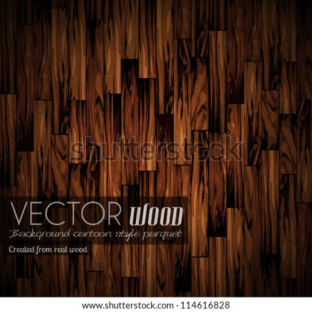 Vector parquet background with old wood texture. Created from real wood with cartoon illustration style. - stock vector