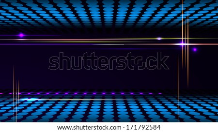 Vector party background with led display background and light frame. - stock vector