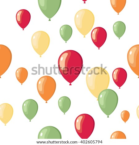 Vector party flat balloons pattern.