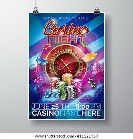 Vector Party Flyer design on a Casino theme with chips and roulette wheel on blue background. Eps 10 illustration. - stock vector
