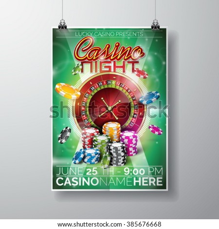 Vector Party Flyer design on a Casino theme with chips and typographic text on violet background. Eps 10 illustration. - stock vector