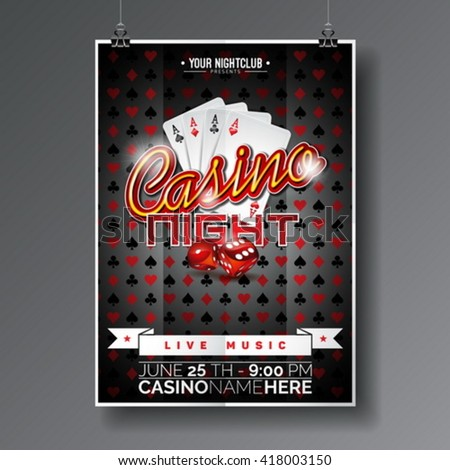 Vector Party Flyer design on a Casino theme with game cards and dices on dark background. Eps 10 illustration. - stock vector