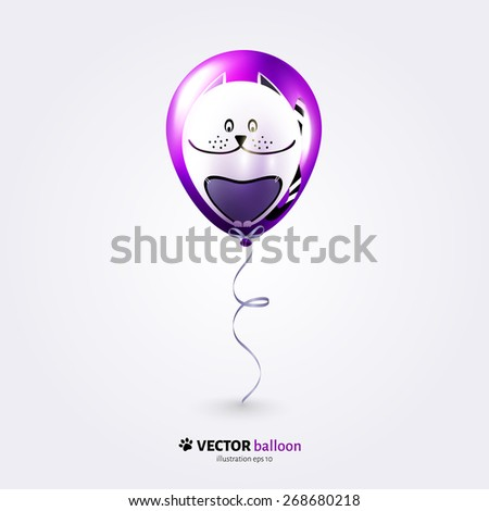 Vector party flying balloon with cat isolated on white background. - stock vector