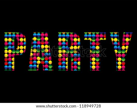 Vector - Party Letters Music Disco Colorful Alphabet - stock vector